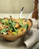 Caesar Salad with Shrimp and Garlic Croutons