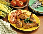 Grilled Chicken and Tomatoes with Fresh Corn