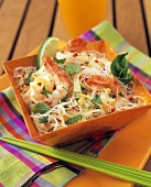 Asian Noodles with Shrimp and Basil
