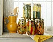 Pickled Vegetables in Jars on Windowsill