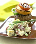 Red Potato Salad with a Hamburger