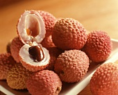 Litchi Fruit on a Plate with One Cut Open