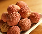 Ripe Litchi Fruit on White Plate