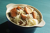 Smoked Sausage and Sauerkraut in a Blue Bowl