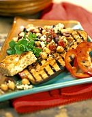 Barbecued aubergine with chick-pea salad and flatbread