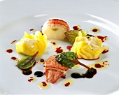 Lobster and filled pasta parcels with balsamic vinegar