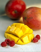 Diced mango and raspberries