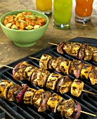 Chicken and banana kebabs on the barbecue