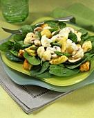 Vegetable salad of cauliflower, mushrooms & green asparagus