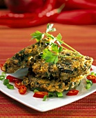 Mushroom pancakes with herbs and chili peppers