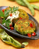 Spicy bean rissoles with yoghurt
