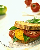 Tomato and Basil Sandwich on Toasted Bread