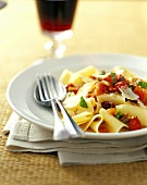 Fresh Papardelle with Tomatoes, Basil, Olives and Parmesan