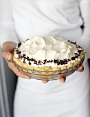 Hands Holding a Banana Cream Pie