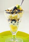 Joghurtmüsli mit Heidelbeeren und Ananas