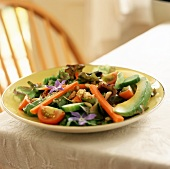 Mixed Salad with Edible Flowers, Avocado and Pine Nuts
