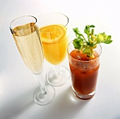 Glass of champagne, Bloody Mary and Screwdriver