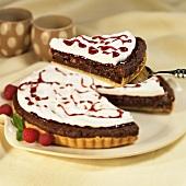 Chocolate Raspberry Torte with Slice Removed