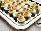 Deviled Eggs on a Silver Tray