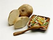 Cut Jicama and Jicama Salad