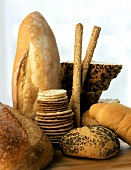 Assorted breads, crackers and grissini