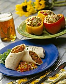 Stuffed Bell Peppers and Bean Burritos