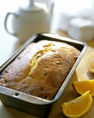 Orange bread in the baking tin (USA)