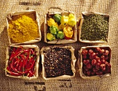 Six ingredients for Asian cooking on a jute sack