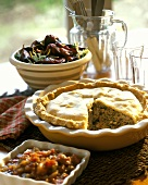 Mince and mushroom pie with salads (USA)