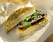 Focaccia sandwich with mushrooms