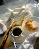 Breakfast in Bed; Croissant and Coffee