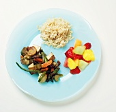 Vegan Diet: Tofu Stir Fry with Fruit and Brown Rice