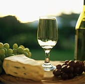 A Glass of Chardonnay with Cambozola Cheese and Grapes