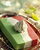 Gelato tricolore (Mixed ice cream with cream, Italy)