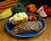 Grilled Strip Steak with Baked Potato; Fresh Vegetables