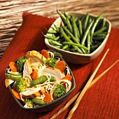 Chicken and Noodles Stir Fried with Vegetables; Green Beans
