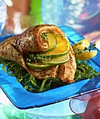 A Trout Fillet Rolled Around Lime Slices