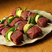 Beef Kabobs with Corn, Mushrooms and Rosemary