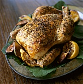 Roast Herb Chicken and Figs; Lemons on Fig Leaves