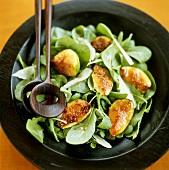 Arugula and Fig Salad in Salad Bowl