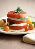 Tomato and mozzarella tower with basil