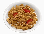 Breakfast Cereal in Bowl with Strawberries