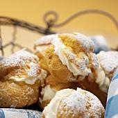 Cream puffs filled with cream