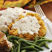 Chicken-fried Steak with Mashed Potatoes; Green Beans