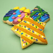 Colourful iced biscuits for children