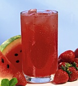 Strawberry and watermelon drink in glass (non-alcoholic)