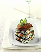 Small mushroom lasagne with soft cheese with herbs