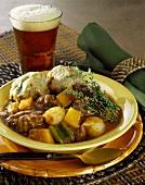 Beef ragout with bread dumplings and beer