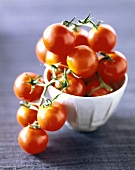 Cherry tomatoes on the vine in a small white dish