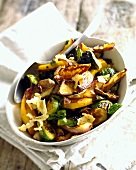 Roasted mixed vegetables in a serving dish